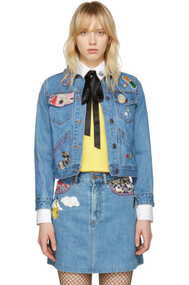 Marc Jacobs - Indigo Denim Shrunken Embroidered Jacket