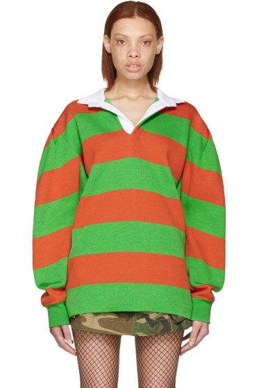 Marc Jacobs - Green & Orange Rugby Polo