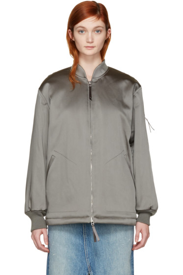 T by Alexander Wang - Grey Nylon Bomber Jacket