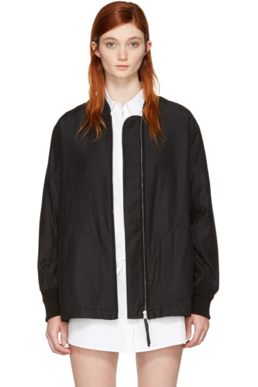 T by Alexander Wang - Black Silk Habotai Bomber Jacket