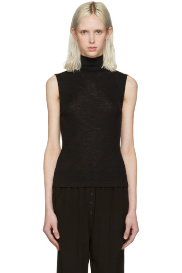 T by Alexander Wang - Black Ribbed Sleeveless Turtleneck