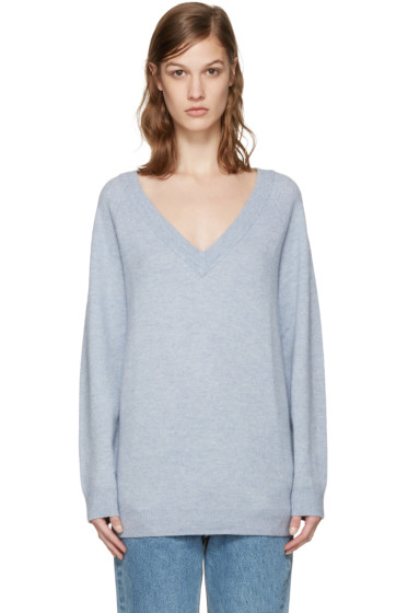 T by Alexander Wang - Blue V-Neck Sweater