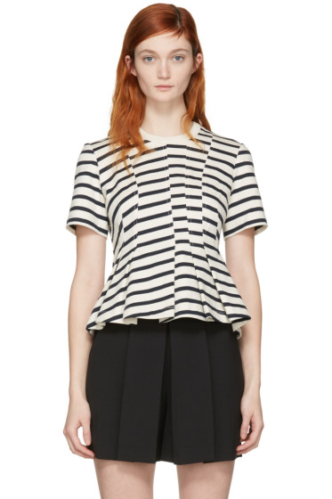 T by Alexander Wang - Ivory Striped Peplum Pullover