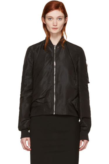 Rick Owens - Black Swoop Flight Jacket