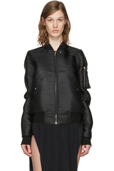 Rick Owens - SSENSE Exclusive Black Flight Bomber Jacket