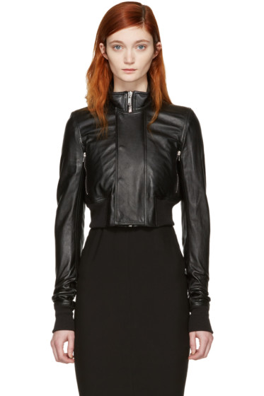 Rick Owens - Black Leather Glitter Cropped Jacket