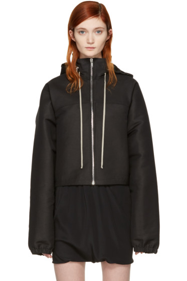 Rick Owens - Black Hooded Cropped Windbreaker
