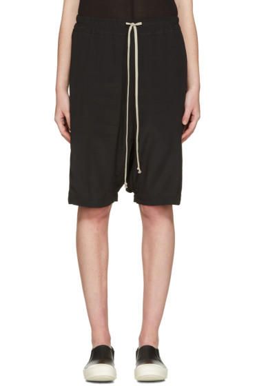 Rick Owens - Black Drawstring Pod Shorts