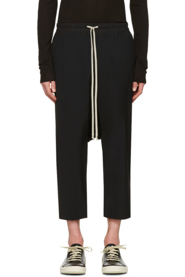 Rick Owens - Black Drawstring Cropped Trousers