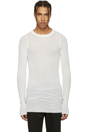 Rick Owens - Ivory Ribbed T-Shirt