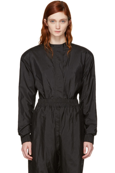 Jil Sander - Black Padded Shoulders Bomber Jacket