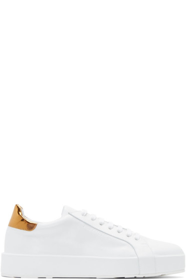 Jil Sander - White & Gold Leather Sneakers