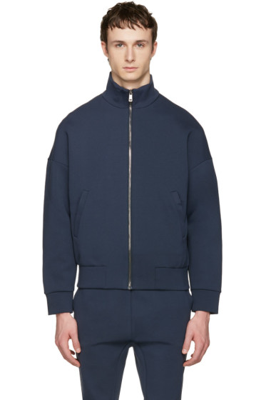 Jil Sander - Navy Jersey Zip-Up Pullover