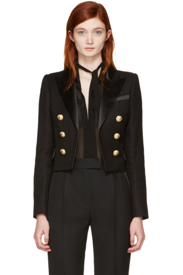 Balmain - Black Classic Cropped Blazer