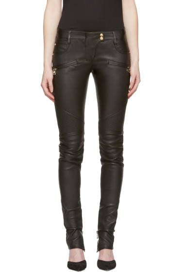 Balmain - Black Leather Biker Trousers