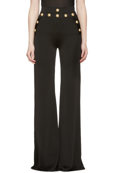 Balmain - Black Gold Buttons Knit Trousers