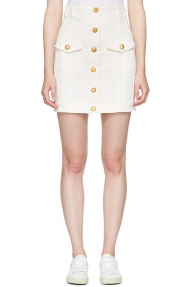 Balmain - White Denim Buttons Miniskirt