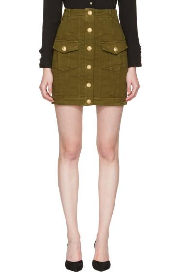Balmain - Khaki Denim Buttons Miniskirt