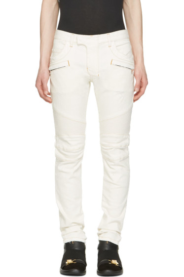 Balmain - Off-White Slim Biker Jeans
