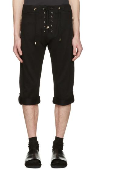 Balmain - Black Lace-Up Lounge Shorts