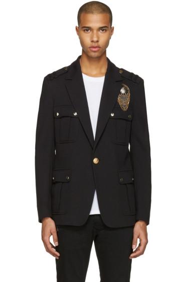 Balmain - Black Embroidered Military Blazer