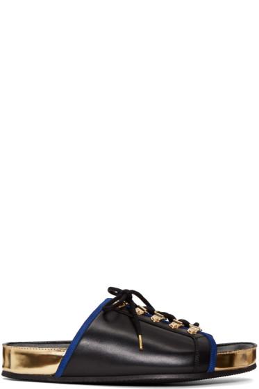 Balmain - Black Lace-Up Sandals