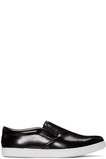 Junya Watanabe - Black Synthetic Slip-On Sneakers