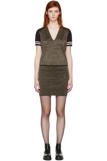 Lanvin - ゴールド & ブラック ルレックス V ネック ドレス