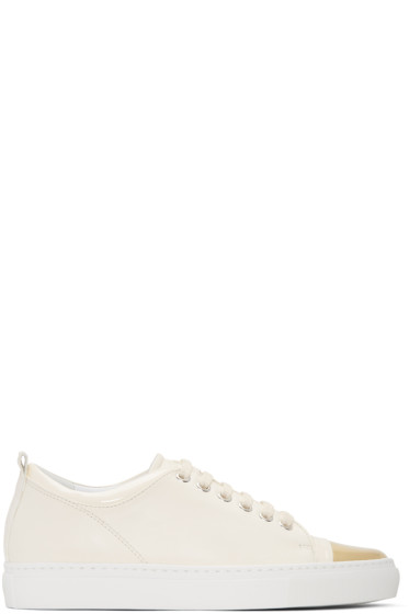 Lanvin - Ivory & Gold Leather Sneakers