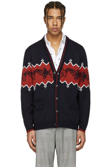 Lanvin - Navy Wool Koi Fish Cardigan