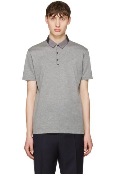 Lanvin - Grey Grosgrain Collar Polo