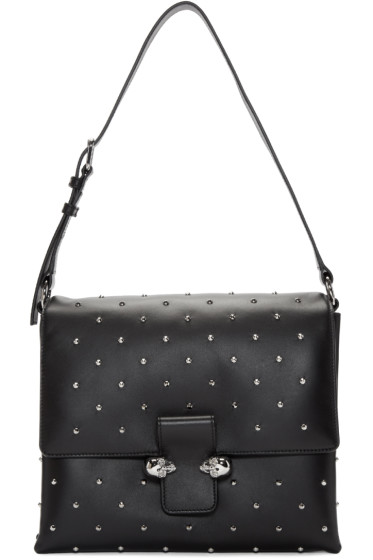 Alexander McQueen - Black Studded Twin Skull Bag