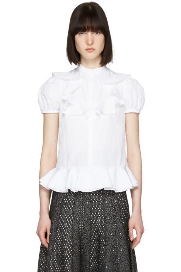 Alexander McQueen - White Ruffled Poplin Shirt