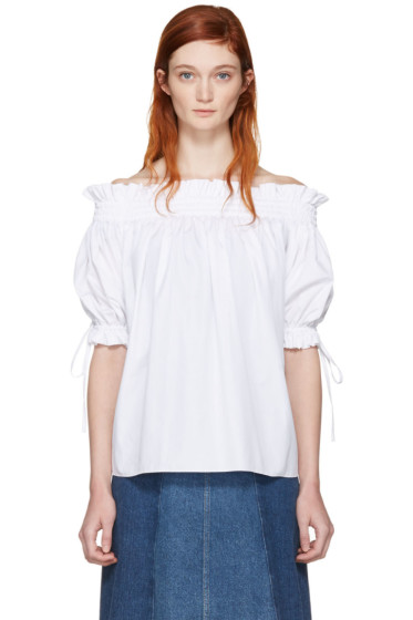 Alexander McQueen - White Off-The-Shoulder Blouse