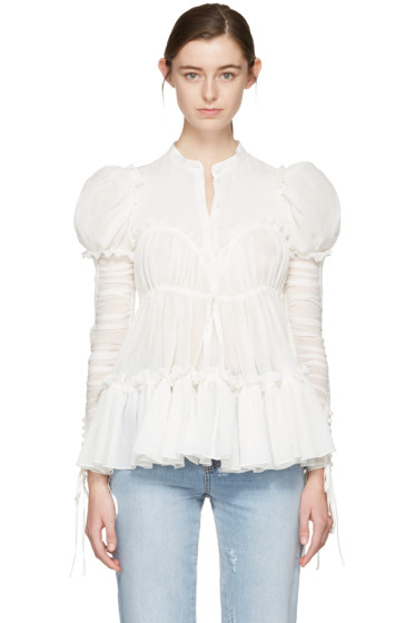 Alexander McQueen - White Crepe Ruched Sleeves Blouse