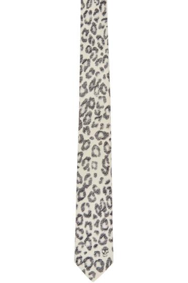 Alexander McQueen - Ivory Leopard Print Tie