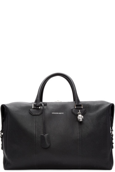 Alexander McQueen - Black Striped Strap Duffle Bag