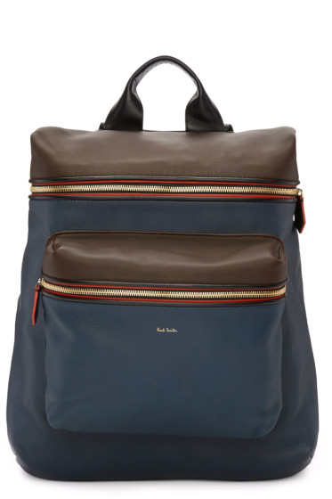 Paul Smith - Navy & Brown Backpack