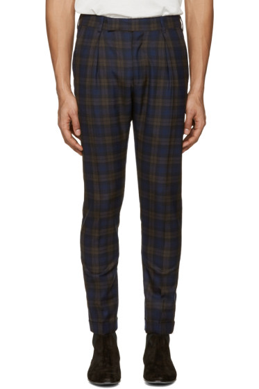 Paul Smith - Navy Plaid Formal Trousers