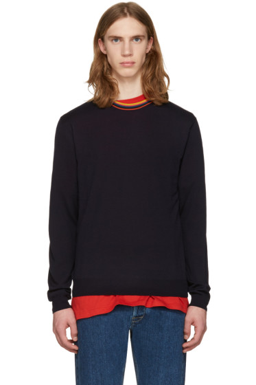 Paul Smith - Navy Striped Collar Pullover
