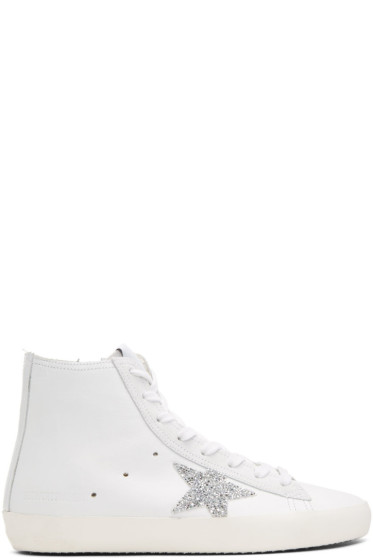 Golden Goose - White Crystal Francy High-Top Sneakers