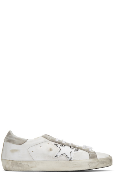 Golden Goose - White Ripped Off Superstar Sneakers