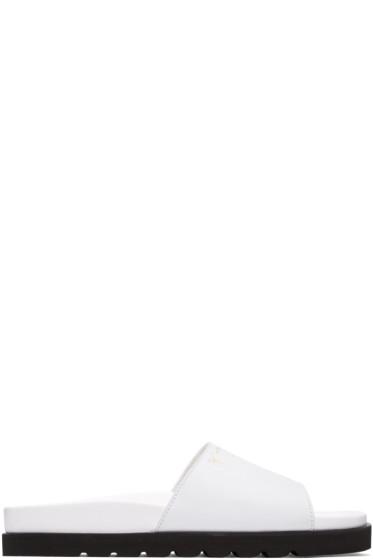 Giuseppe Zanotti - White Leather Slide Sandals
