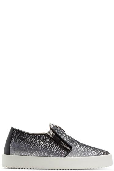 Giuseppe Zanotti - Black & Silver May London Slip-On Sneakers