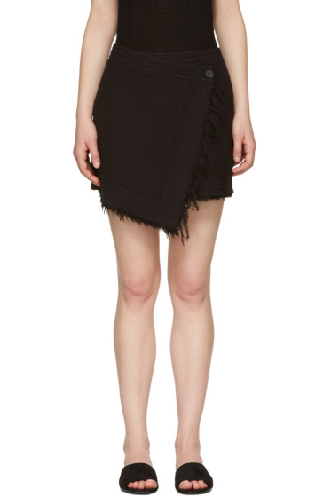 Raquel Allegra - Black Wrap Miniskirt