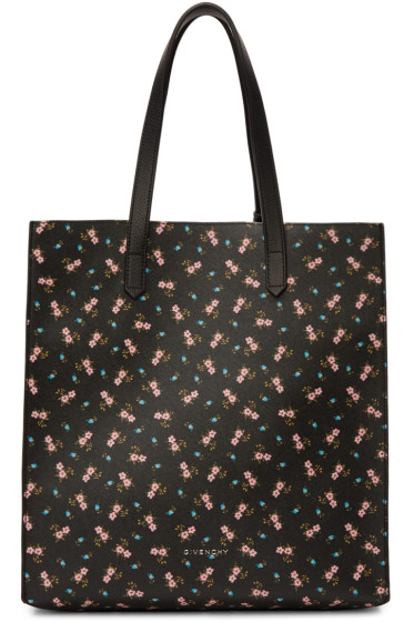 Givenchy - Black & Pink Hibiscus Tote