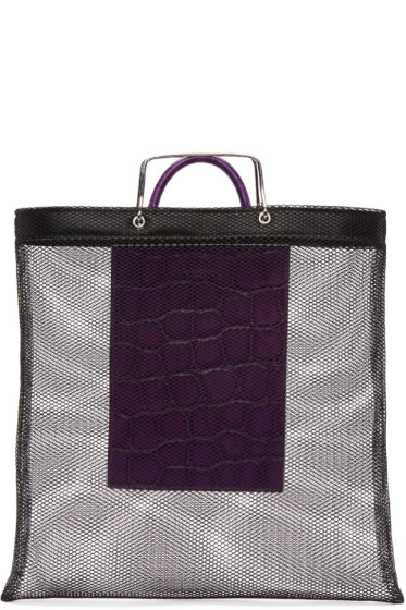 Givenchy - Black & Purple Mesh Tote