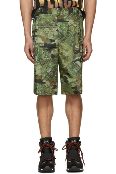 Givenchy - Green Camo Money Shorts