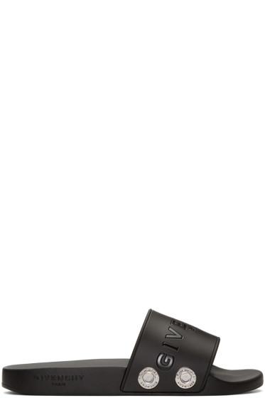 Givenchy - Black Rivet Logo Slide Sandals