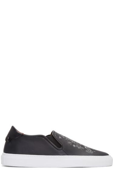 Givenchy - Black Tattoo Street Skate Slip-On Sneakers
